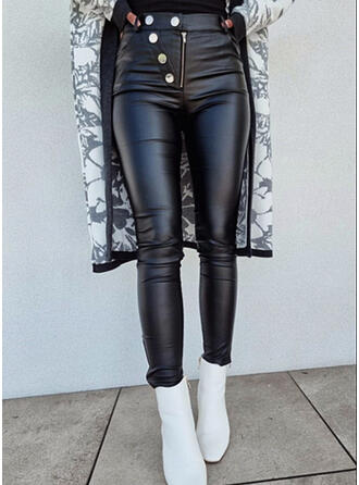 Jednolity Poliuretan Długo Nieformalny Seksowny Duży rozmiar Przycisk Spodnie
