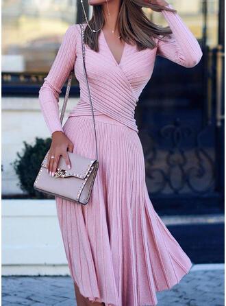Jednolity Dekolt w kształcie litery V Casual Długie Sukienka sweterkowa