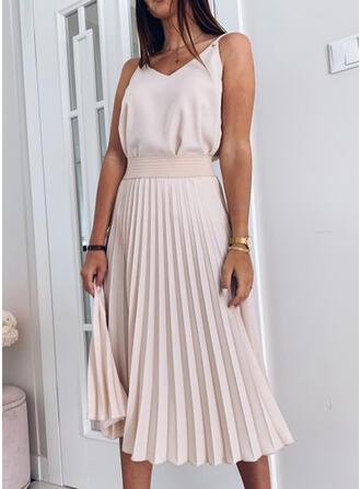 Solid Sleeveless A-line Slip/Skater Casual Midi Dresses
