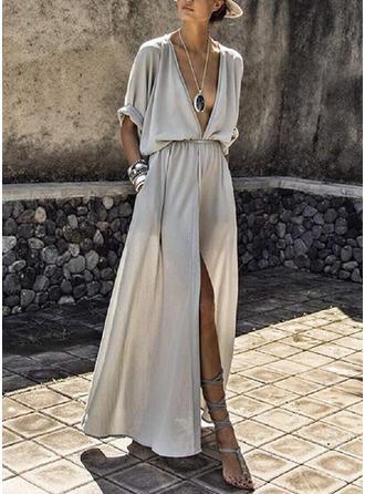 Jednolita Rękawy 1/2 W kształcie litery A Casual/Wakacyjna Maxi Sukienki