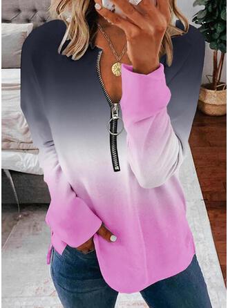 Gradient Dekolt w kształcie litery V Długie rękawy Bluza