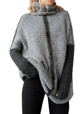 Color Block Turtleneck Oversized Casual Sweaters