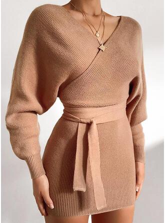 Jednolity Dekolt w kształcie litery V Casual Dopasowany Sukienka sweterkowa