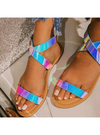 Women's PU Flat Heel Sandals Flats Peep Toe With Buckle Crisscross shoes