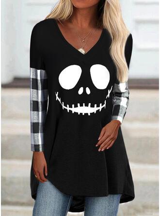 Halloween W kratę Nadruk Dekolt w kształcie litery V Długie rękawy T-shirty