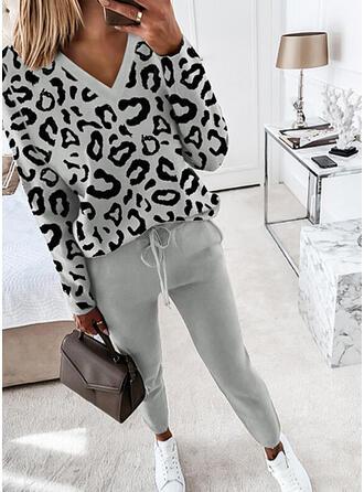 lampart Nieformalny Duży rozmiar bluzka & Stroje dwuczęściowe zestaw