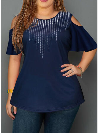 Print Cold Shoulder Flare Sleeve Short Sleeves Casual Plus Size Blouses