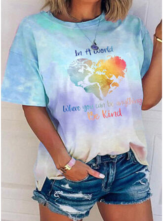 Figure Heart Print Tie Dye Round Neck Short Sleeves T-shirts