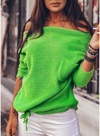 Jednolity Kieszenie Na jedno ramię Casual Swetry