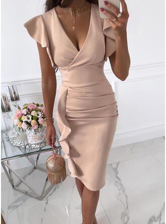 Jednolity Krótkie rękawy Ruffle Sleeve Bodycon Długośc do kolan Elegancki Ołówkowa Sukienki