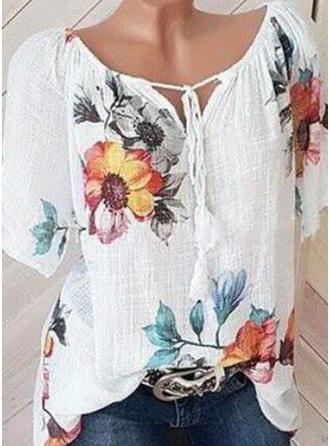 Kwiatowy Dekolt w kształcie litery V Krótkie rękawy Casual Elegancki Bluzki