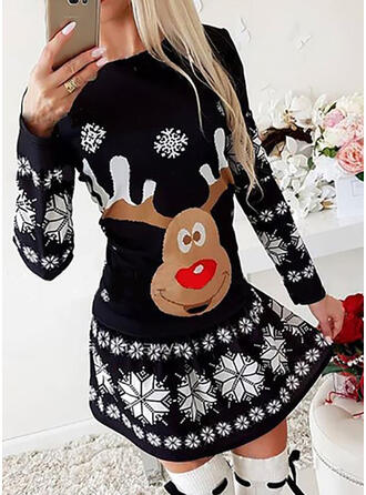 Nadruk zwierzęcy Długie rękawy W kształcie litery A Nad kolana Boże Narodzenie/Casual Łyżwiaż Sukienki