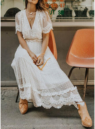 Koronka/Jednolita Krótkie rękawy W kształcie litery A Casual/Elegancki Maxi Sukienki