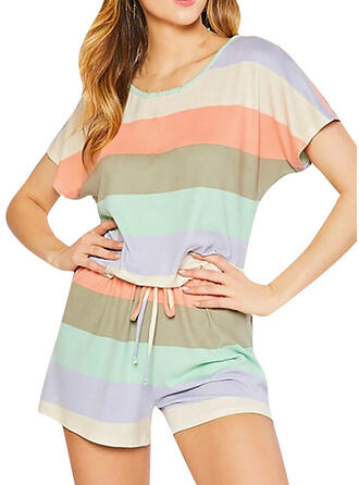 Cotton Blends Striped Round Neck Short Sleeves Alluring Pyjama Set