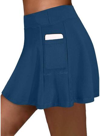Jednolity Nad kolanem Nieformalny Pocket shirred Spodnie Szorty