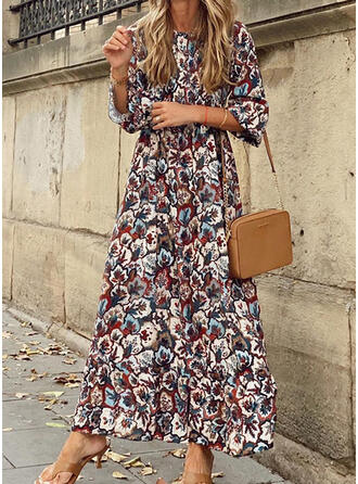 Nadrukowana/Kwiatowy W kształcie litery A Łyżwiaż Casual/Wakacyjna Maxi Sukienki