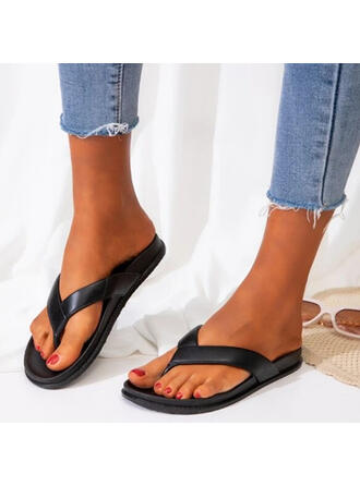 Women's PVC Flat Heel Sandals Flats Peep Toe Flip-Flops Slippers With Hollow-out Crisscross shoes