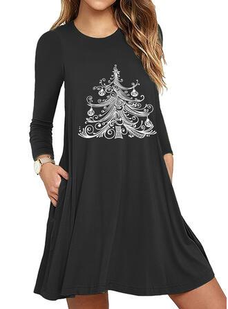 Nadrukowana Długie rękawy Pokrowiec Nad kolana Boże Narodzenie/Casual Sukienki