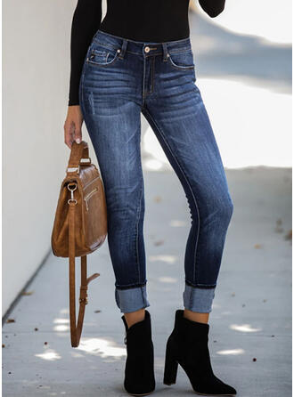 Pockets Shirred Plus Size Elegant Sexy Denim & Jeans