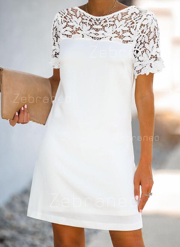 Koronka/Patchwork Krótkie rękawy Koktajlowa Nad kolana Casual/Elegancki Sukienki