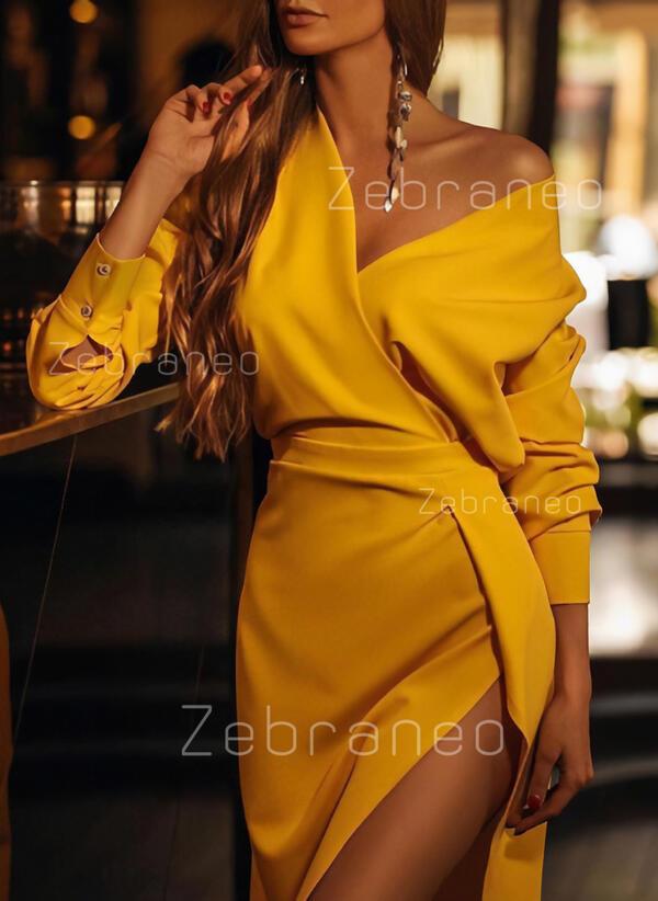 Jednolita Długie rękawy Pokrowiec Mała czarna/Casual/Przyjęcie Midi Sukienki