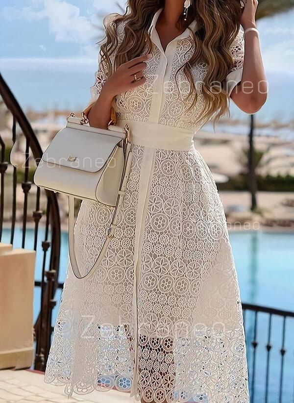 Lace/Solid Short Sleeves A-line Skater Elegant Midi Dresses