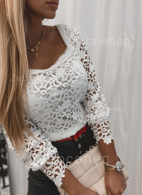 Solid Lace Square Collar Long Sleeves Casual Blouses